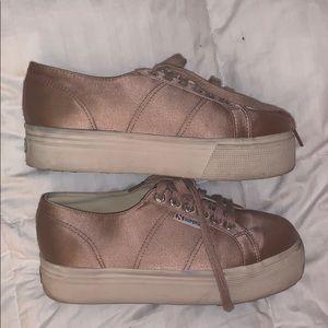 Superga Pink Velvet Platform Sneaker Size 8